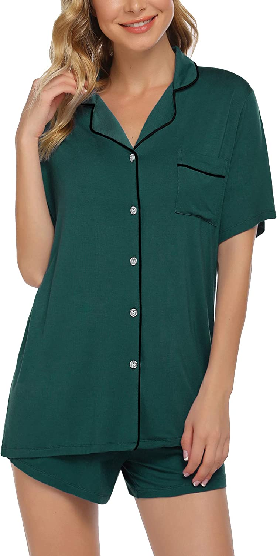 Pinspark Button Down Pajama Sets for Womens Short Sleeve Sleepwear Lapel Nightwear 2Pcs Pjs Lounge Sets S-XXL