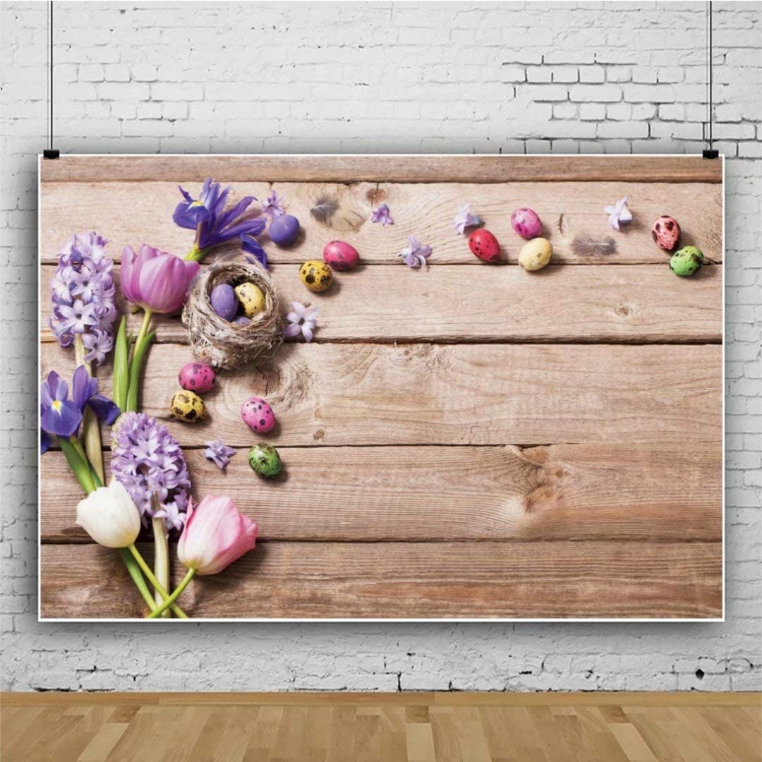 DaShan 14x10ft Spring Wood Easter Backdrop for Photography Flowers Easter Eggs Rustic Wood Wall Background Baby Shower Kids Baby Newborn Children Adults Easter Party Decoration Photo Props