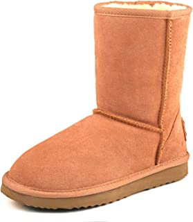 Women's Leather Winter Boot Classic Half Snow Boot