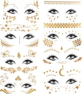 Konsait 8 Sheets Face Tattoo Sticker Metallic Temporary Transfer Tattoo Waterproof Face Jewels for Women Girls Make Up Dancer Costume Parties, Shimmer Glitter Gold Tattoos,Scale Tears Butterfly Freckl