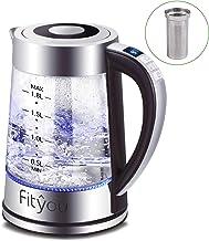 Hervidor de Agua Eléctrico, Fityou Hervidor de Agua Cristal Control de Temperatura, Cierre Automático, Iluminación Led, Libre de BPA y Sistema de Protección contra la Ebullición en Seco (1.8L/2000W)