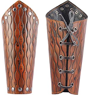 Leather Armor Medieval Gauntlets Wristband Guard Punk Costume Wide Bracer Arm Cuff for Men Women