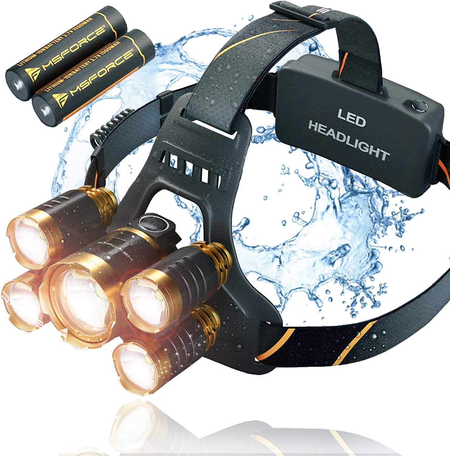 Headlamp Flashlight - 5 Original Head LED Providing 1080 Lumens, 2 Powerful Rechargeable Batteries 18650, Comfort For Indoor & Outdoor, Walking with Your Dog