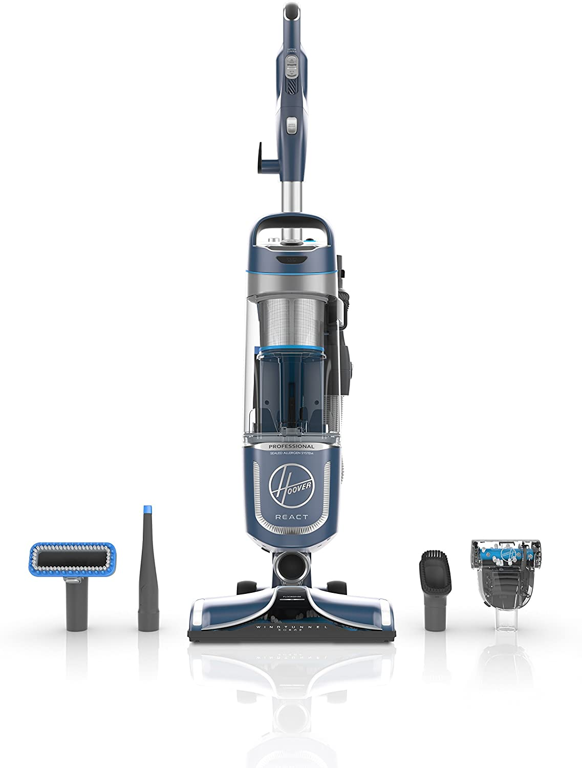 Hoover UH73220PC React Professional Pet Plus Bagless Upright Vacuum, bluee