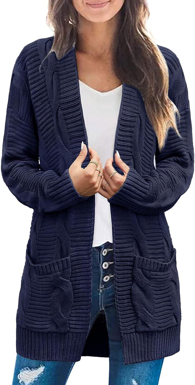 MEROKEETY Women's Long Sleeve Cable Knit Cardigan Sweaters Open Front Fall Outwear Coat