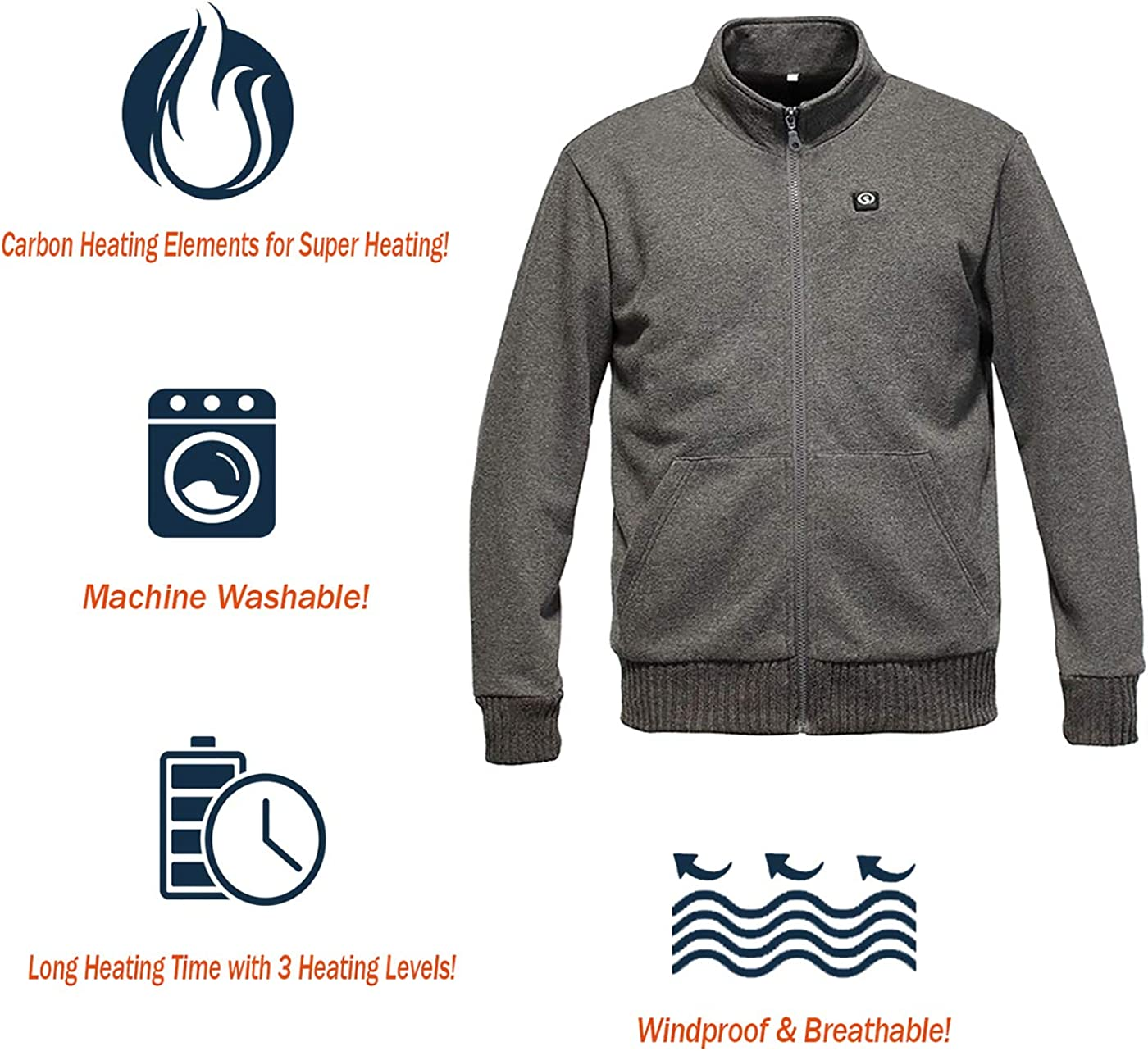 day wolf Heated Jacket Rechargeable Electric Heating Clothes Warm Winter Fleece Men Women