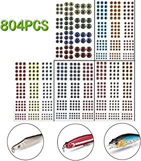 YOTO 804PCS Fishing Lure Eyes 2D/3D/4D/5D Lifelike Realistic Artificial Holographic Fake Eyes 3 4 5 6 7 10mm for Fly Tying Lures Crafts DIY Materials Tool