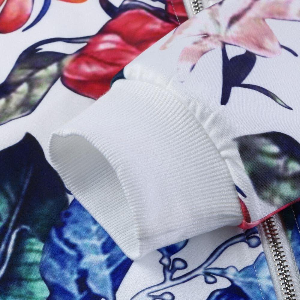 iHENGH Damen Herbst Winter Bequem Mantel Lässig Mode Jacke Frauen Damen Druck Langarmshirts Zipper Jacket Outwear Lose Tops Weiß