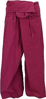 Pantalón de Pesca Tailandés de Algodón, Pantalón Envolvente, Pantalón de Yoga, Azul, Tamaño:One Size, 3/4 Fisherman Hosen