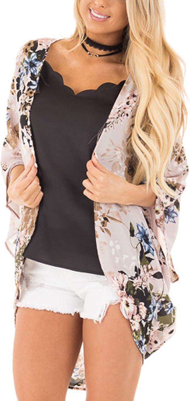Hibluco Women's Fashion Floral Print Kimono Cardigan Long Tops Loose Cover Ups