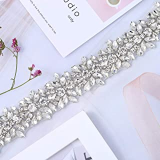 XINFANGXIU 1 Yard Bridal Wedding Dress Sash Belt Applique with Crystals Rhinestones for Women Gown Evening Prom Clothes Handcrafted Sparkle Thin Sewn or Hot Fix