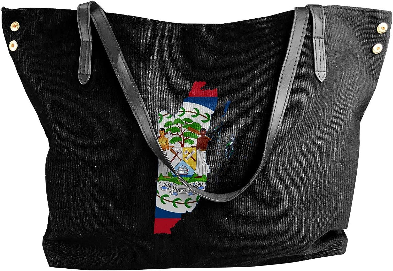 Belize Flag Map Women'S Leisure Canvas Shoulder Bag For Shopping Shoulder Tote