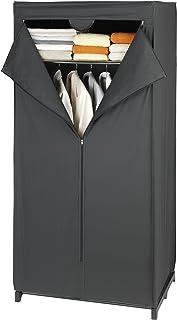 WENKO Armoire-penderie Deep Black avec étagère - con repisa, Polyéthylène, 75 x 160 x 50 cm, Noir