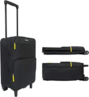 Travel Ready 2-Wheel Collapsible Carry On Cabin Luggage Suitcase Made of High Tensile Strength Ripstop Polyester. Approved for Ryanair EasyJet and All Major Airlines