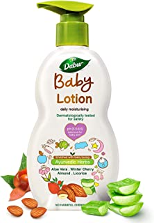 Dabur Baby Lotion: For Baby's Sensitive Skin with No Harmful Chemicals |Contains Aloe Vera , Licorice & Almonds |pH balanc...