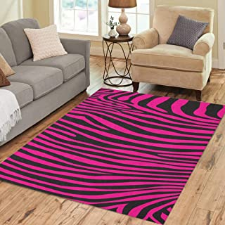 Pinbeam Area Rug Black Pink Zebra Stripes Pattern African Painting Abstract Home Decor Floor Rug 2' x 3' Carpet