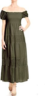 ANNA-KACI Womens Off Shoulder Boho Lace Semi Sheer Smocked Maxi Long Dress