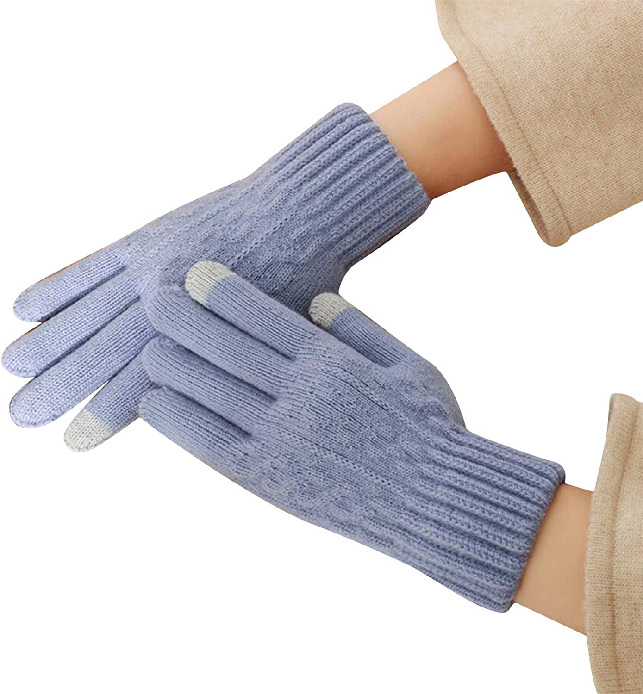 WEILYDF Women's Gloves Five-Finger Double Button Flower Winter Touch Thickened Warmth Velvet Knitted Soft Mittens Outdoor Accessories,Light Purple