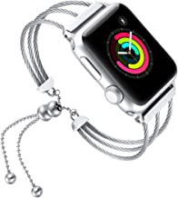 fastgo Compatible with Apple Watch Band 42mm, 2018 July Newest Ladies Cute Dressy Fashionable Design Compatible 42 Apple Watch Women Jewelry Band Silver (Silver-42mm)