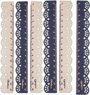 VEIREN 10PCS Wooden Ruler Vintage Lace Edge لوازم التحریر ابزار اندازه گیری برای دانشجویان صنایع دستی دفتر خیاطی حاکمان کاوایی 6 اینچ 15 سانتی متر چوب سیاه
