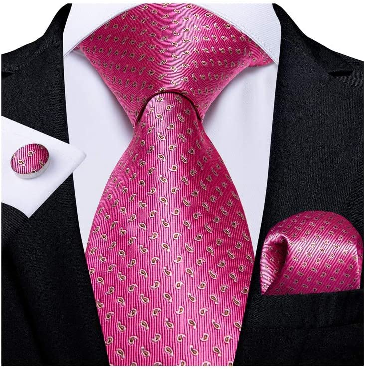 YFQHDD Classic Wide Men's Silk Ties Set Business Wedding Tie Pocket Square Cufflinks Gifts for Men (Color : A)