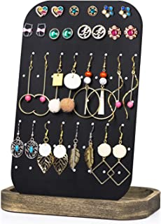 SRIWATANA Stud Earring Holder Organizer, Earring Stand Display, Metal Jewelry Organizer with Solid Wood Tray(62 Holes)