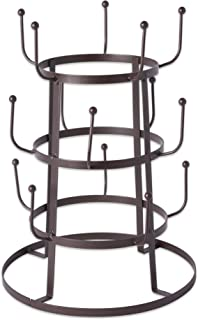Home Traditions 3 Tier Countertop or Pantry Vintage Metal Wire Tree Stand for Coffee Mugs, Glasses, and Cups, 15 Mug Capacity, Rustic Bronze