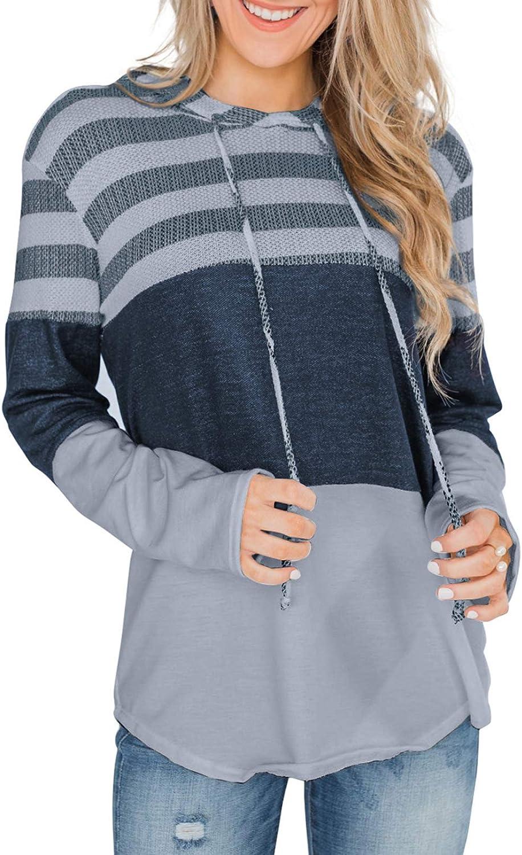 BLENCOT Women Sweatshirts and Hoodies Long Sleeve Drawstring Sweatshirts Color Block Striped Pullover Top