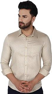 SKAVIJ Men's Cotton Long Sleeve Shirt Floral Print Casual Retro Button Down Shirt