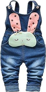 Baby Toddler Girls Soft Knitted Cotton Denim Cute Cartoon Overalls