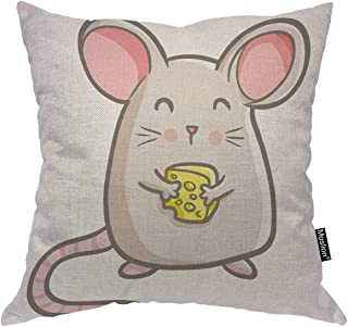 Moslion Mouse Pillows Nature Funny Cute Animal Smile Rat Holding Cheese Throw Pillow Cover Decorative Pillow Case Square Cushion Canvas Cotton Linen Home 18x18 Inch