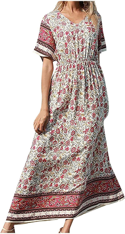 Sun Dresses Women Summer Fashion Women's V-Neck Casual Retro Printed Short Sleeve Loose Dress Womens Dresses