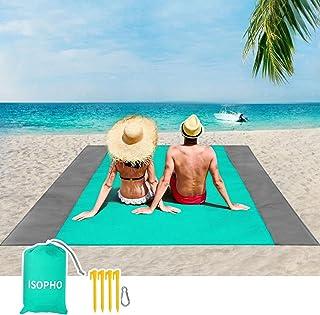 ISOPHO strandfilt, picknickfilt, extra stor, 210 x 200 cm, vattentät, sandtålig, vattentålig strandmatta med 4 fasta nagla...