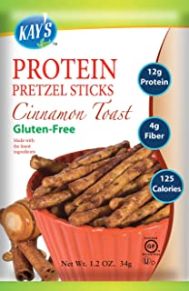 Kay's Naturals Protein Pretzel Sticks, Cinnamon Toast, Gluten-Free, Low Carbs, Low Fat, Diabetes Friendly All Natural Flavorings, 1.2 Ounce (Pack of 6)