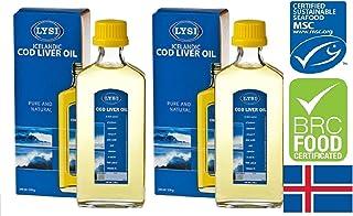 Olio di fegato di merluzzo di Lysi ad alto contenuto di Omega 3 Limone Flavour 240 Ml Supplemento liquido con vitamine naturali A. D & E x 2 bottiglie di alta qualità a base di pesce in Islanda