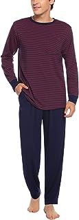 Hawiton Men's Pyjamas Set Cotton Long Sleeve Striped Top & Pants Loungewear Sleepwear Nightwear PJs w Pockets for Man