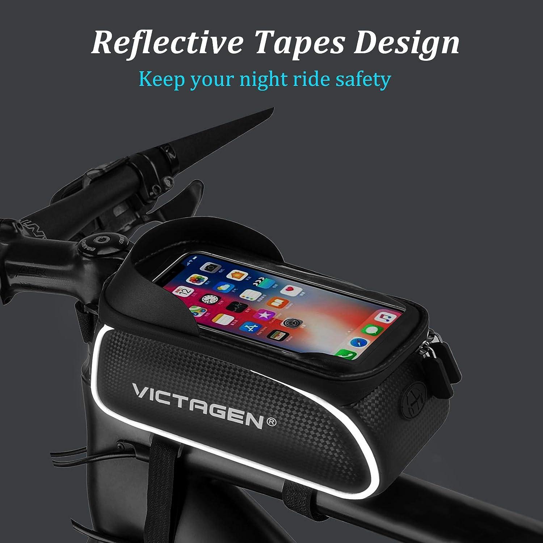 Waterproof Bike Phone Mount Handlebar Bag Phone Holder Bicycle Accessories for iPhone X//8//7 plus//7//6s//6 plus//5s victagen Handlebar Bags Bike Frame Bag
