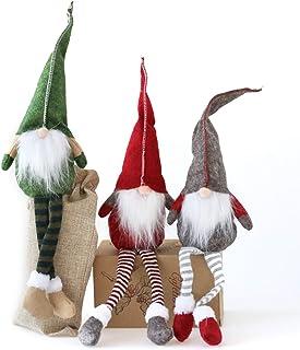 Fettinow Juego de 3 gnomos de Navidad, gnomo, Adornos navideños, Hecho a Mano, escandinavo, para decoración de la casa, Ad...
