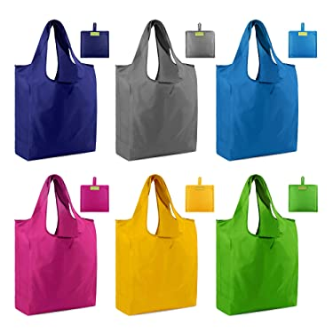 Reusable Tote Bags Shopping Grocery Bags with Pouch 6 Pack Groceries Bags Ripstop 50LBS Large Machine Washable Waterproof Eco-Friendly Sturdy Lightweight Royal Red Green Yellow Teal Gray