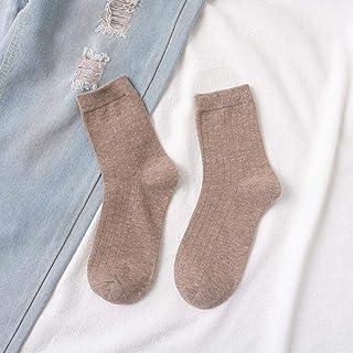 xianzhang99 Calcetines de algodón para Mujer, Calcetines de algodón para otoño e Invierno, Color sólido, Calcetines funcionales de algodón de Doble Aguja, mantén el Calor Multicolor E