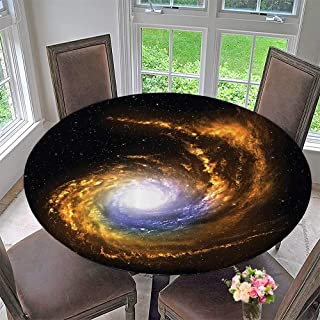 "Mikihome Round Fitted Tablecloth Nebula Cloud with Cosmic Rays Galactic Sparks Exploring Celestial Bodies Space 43.5""-47.5"" Round (Elastic Edge)"