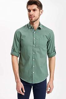 DeFacto Tek Cepli Katlanabilir Uzun Kollu Slim Fit Gömlek