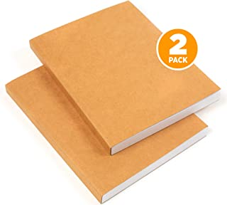 """Kraft Cover Drawing Sketchbook and Notebook - w/Blank Cover Plain Sketch Paper 120 GSM Thick, 8"""" x 11"""" 2Pack"""
