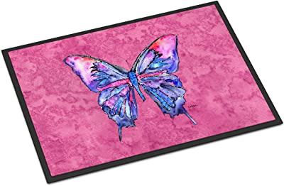 Caroline's Treasures Butterfly on Pink Indoor or Outdoor Doormat, 18 inches x 27 inches , Multicolor