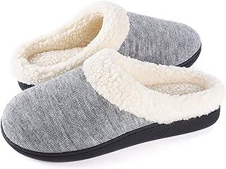 Wishcotton Women's Cozy Memory Foam Slippers Fuzzy Wool-Like Plush Fleece Lined House Shoes w/Indoor, Outdoor Nonslip Rubb...