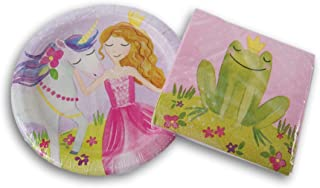 Unique Pink Princess Birthday Party Supply Kit - Cake Plates and Beverage Napkins