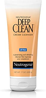Neutrogena Deep Clean Daily Facial Cream Cleanser with Beta Hydroxy Acid to Remove Dirt, Oil & Makeup, Alcohol-Free, Oil-Free & Non-Comedogenic, 7 fl. oz