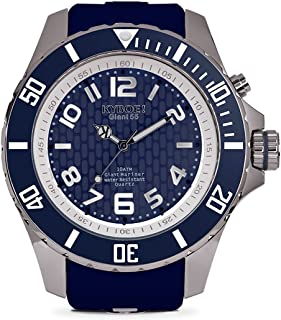 KYBOE! Power Stainless Steel Quartz Watch with Silicone Strap, Blue, 25 (Model: KY.55-031.15)