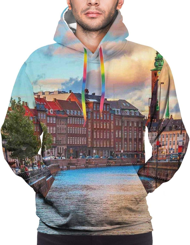 Men's Hoodies Sweatshirts,Scenic Summer German Traditional Medieval Half-Timbered Bridge River Town