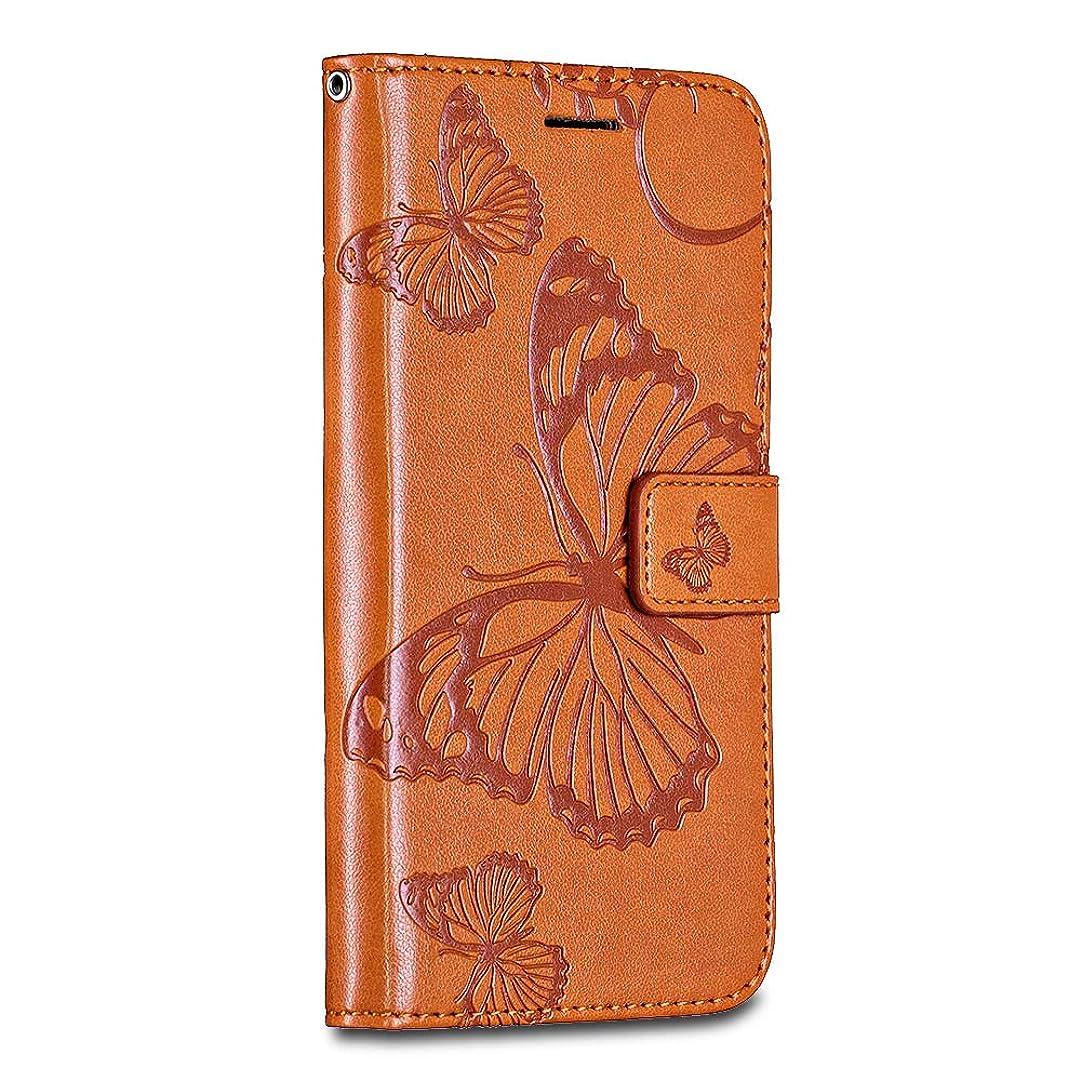 殉教者散文砂漠Bravoday Huawei P20 Lite ケース 手帳型 高級PUレザー Huawei P20 Lite ケース 財布型 高品質 レザー カバー カード収納 マグネット スタンド機能 人気 おしゃれ 耐衝撃 耐摩擦 オレンジ